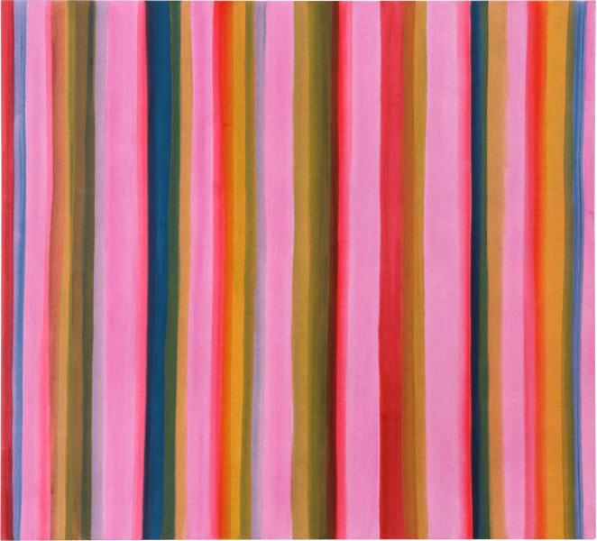 Angela Brennan Striped Painting, 1997; oil on canvas; 152.5 x 167.5 cm; enquire