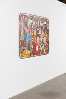 installation view; Kaylene Whiskey Seven Sisters Song, 2021; water based enamel on SA Tourist Attraction road sign; 120 x 180 x 3 cm; enquire