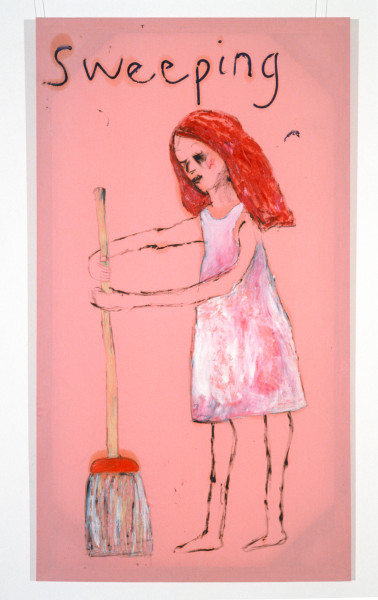 Jenny Watson Sweeping, 1989-90; oil on Rabbit skin Glue primed liberty cotton; 243.5 x 182.5 cm; enquire