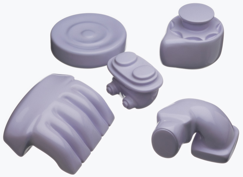 Patricia Piccinini Giblets—lilac, 2000; lilac; resin and automotive paint; dimensions variable, set of 5; Edition of 3; enquire