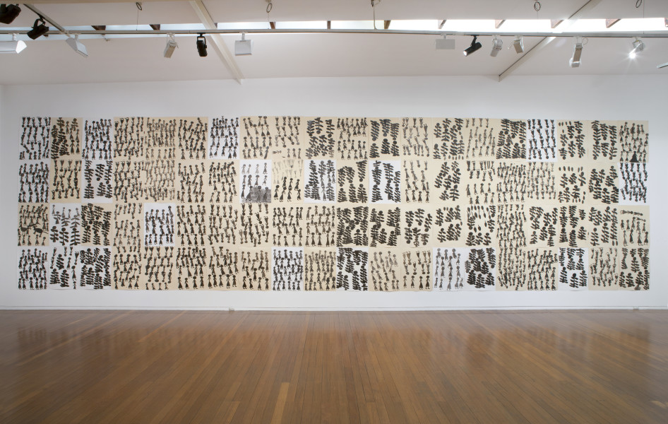 Nyapanyapa Yunupingu Yolngu Retjangura (People in the Jungle), 2014; felt tip pen, earth pigment, PVA glue on discarded print proofs; 304 x 1120 cm; 76 x 56cm (each); enquire