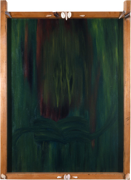 Dale Frank The Bearded Woman and the Recorded Discreteness, 1982; acrylic and impregnated varnishes on canvas; 141 x 101 cm; enquire