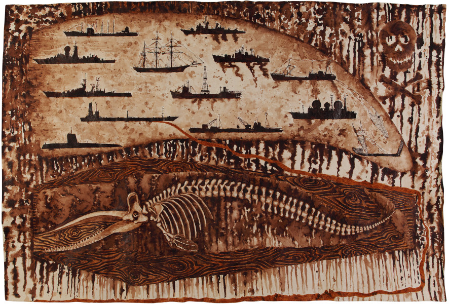 Fiona Hall Scrimshaw, 2011; Tongan tapa dye and Tongan ochre on canvas; 180 x 280 cm; enquire