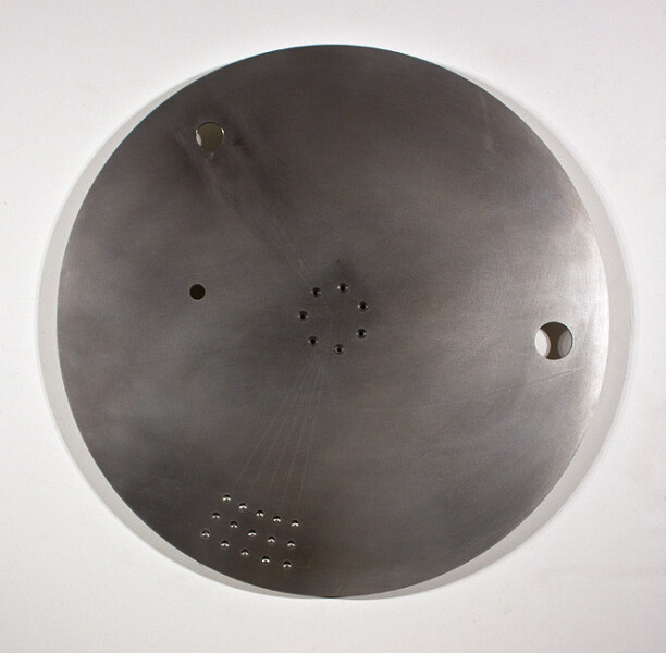 Marley Dawson High Speed counter-balance disc (study 4), 2011; polished 316 stainless steel, mild steel, bearings; 80 x 80 x 5 cm; enquire
