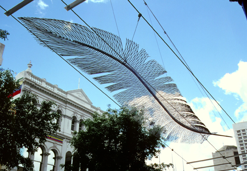 Bronwyn Oliver Big Feathers, 1999; Aluminium; 500 x 100 x 20 cm; enquire
