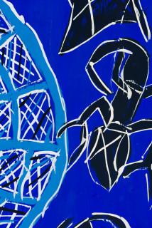 Dhambit Munuŋgurr Dhakawa at Wandawuy (detail), 2020; 3164-20; earth pigments and acrylic on bark; 186 x 104 cm; enquire