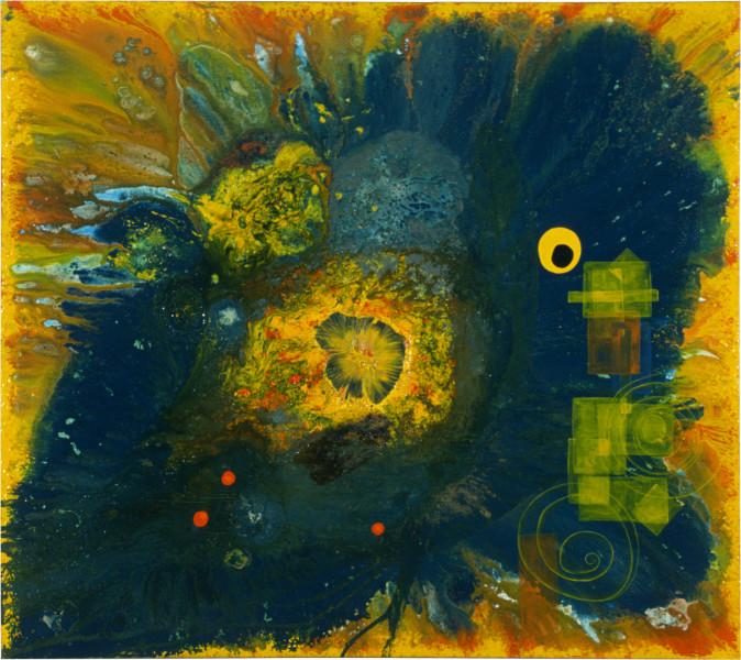 Dale Frank What is this Fantastic Fantasy of Circles Ever for The Artist, 1986; acrylic & mixed media on canvas; 180 x 200 cm; enquire