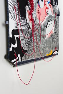 Claire Healy and Sean Cordeiro Shoki (detail), 2020; Iroquois aircraft panel, acrylic gouache, polyester cord; 130 x 145 x 10 cm; enquire