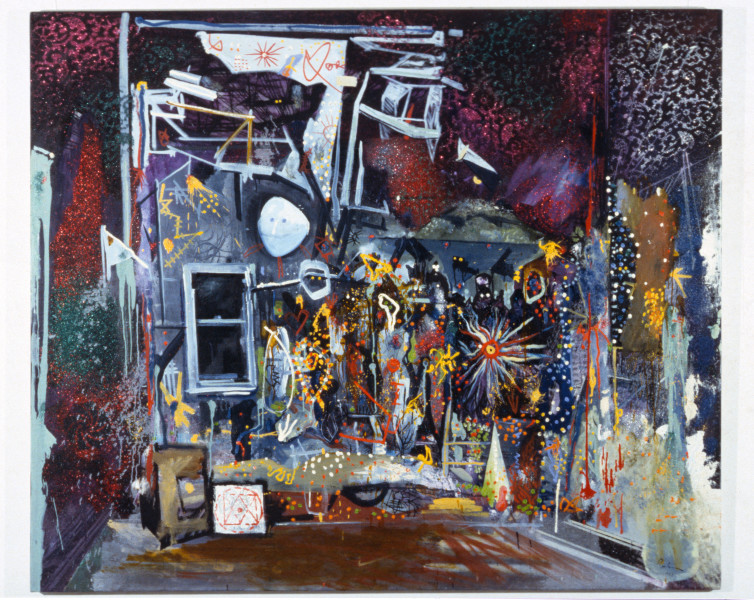 Victor Rubin No 31: 1988 (Inverted) Pierrot Lunaire and delight with Subterranean Homesick Blues (1: Arnold Schoenberg 2: Bob Dylan), 1988; oil and mixed media on canvas; 169 x 198 cm; enquire