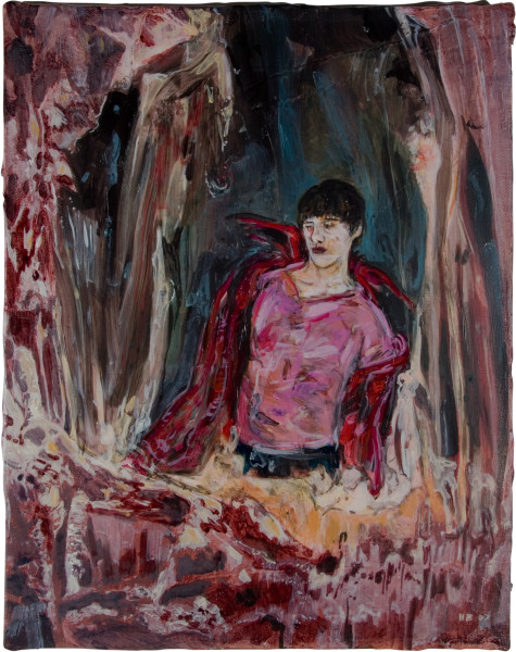 Hernan Bas Mephistopheles, at 17 (disrobing for a trip to the surface), 2007; mixed media on linen; 35.5 x 28 cm; enquire