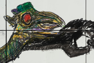 Pierre Mukeba (Baby Folklored Dragon) (detail), 2021; charcoal and pastel on archival paper; 120 x 210 cm; enquire