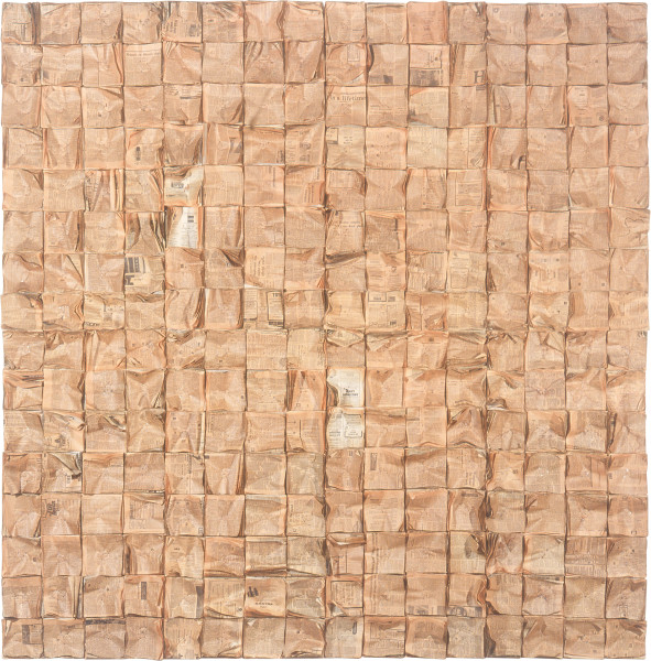 Rosalie Gascoigne Paper Square, 1982; 256 wads of newspaper nailed to plywood; 246 x 240 cm; 8 panels; enquire