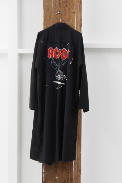Nell Fly on the Robe (from Chanting to Amps), 2012; Zen Robe, Vintage AC/DC T-shirt, safety pins; enquire