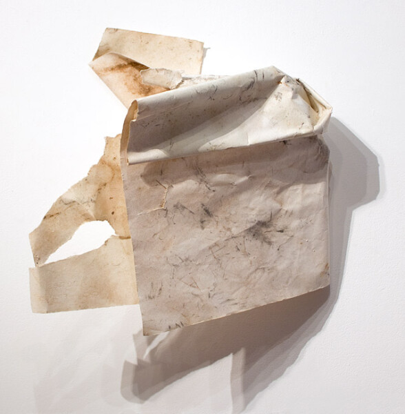 John Wolseley Sunset Ventifact, 2006-10; carbonized wood and watercolour on paper; 33 x 45 cm; enquire