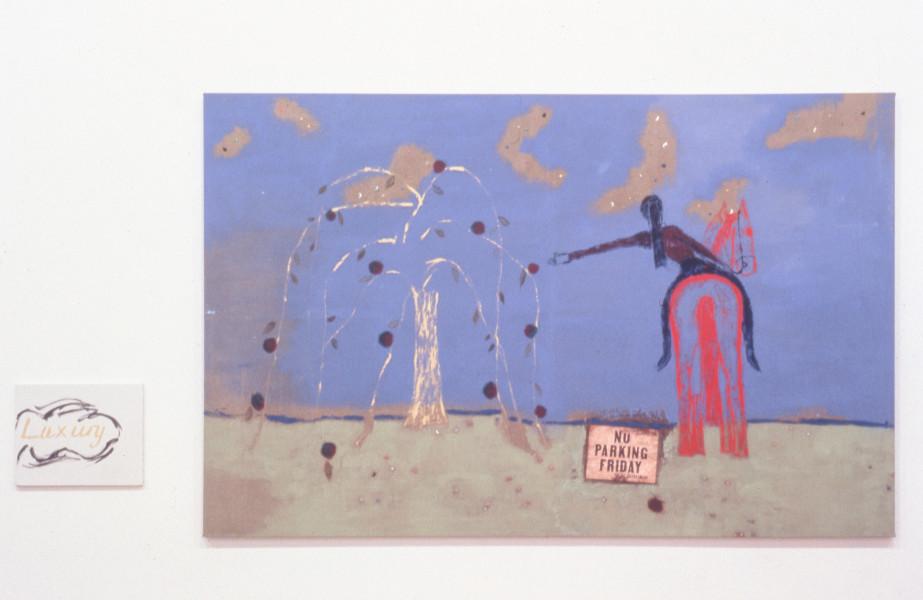 Jenny Watson Luxury, 1992; Oil, pigments, sequins & paper on printed Belgian linen; 177 x 265.5cm & 50 x 40cm; enquire