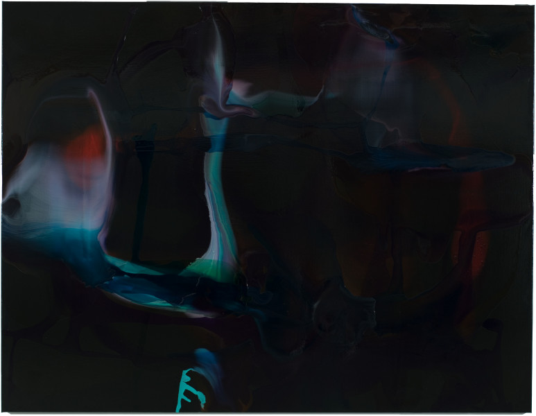 Dale Frank The first letter and first vowel a macebearer that said don't let children breath your smoke, 2008; varnish on canvas; 200 x 260 cm; enquire