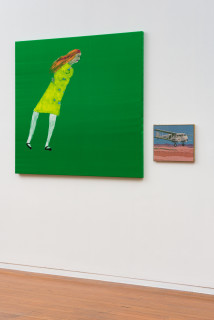 installation view; Jenny Watson Green with envy and it's windy, 2020; Acrylic on French satin and tapestry template; 126 x 140cm; 31 x 39cm; enquire