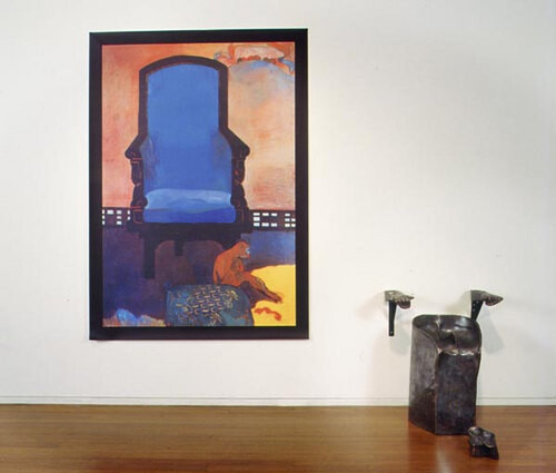 Julie Rrap Untitled (after Gauguin's 'Anna the Javanese'), 2002; from the series Fleshed Out; Vutek print, solvent pigment inks on canvas; 90 x 110 x 75 cm; 4 bronze pieces, print dimensions: 225 x 163cm; Edition of 3; enquire