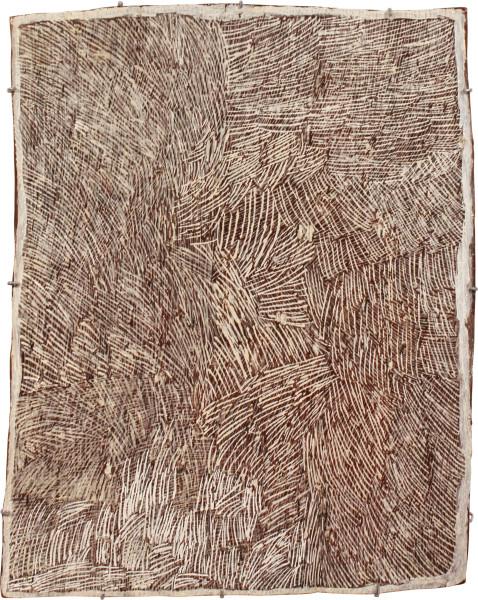 Nyapanyapa Yunupingu Lines, 2011; 4057D; natural earth pigments on bark; 67 x 85 cm; enquire