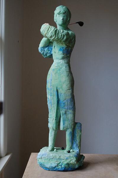 Linda Marrinon Green Golfer, 2009; tinted plaster, bronze; 80 x 30 x 24 cm; enquire