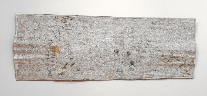 Nyapanyapa Yunupingu 1. Untitled, 2013; 4344E; natural earth pigments on bark; 272 x 102 cm; enquire
