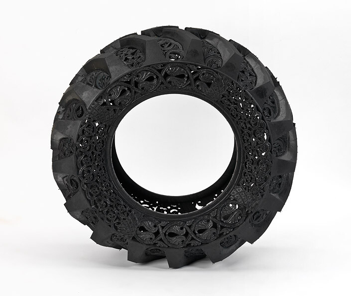 Wim Delvoye Untitled (Car Tyre), 2009; handcarved car tyre; 122 x 122 x 38 cm; enquire