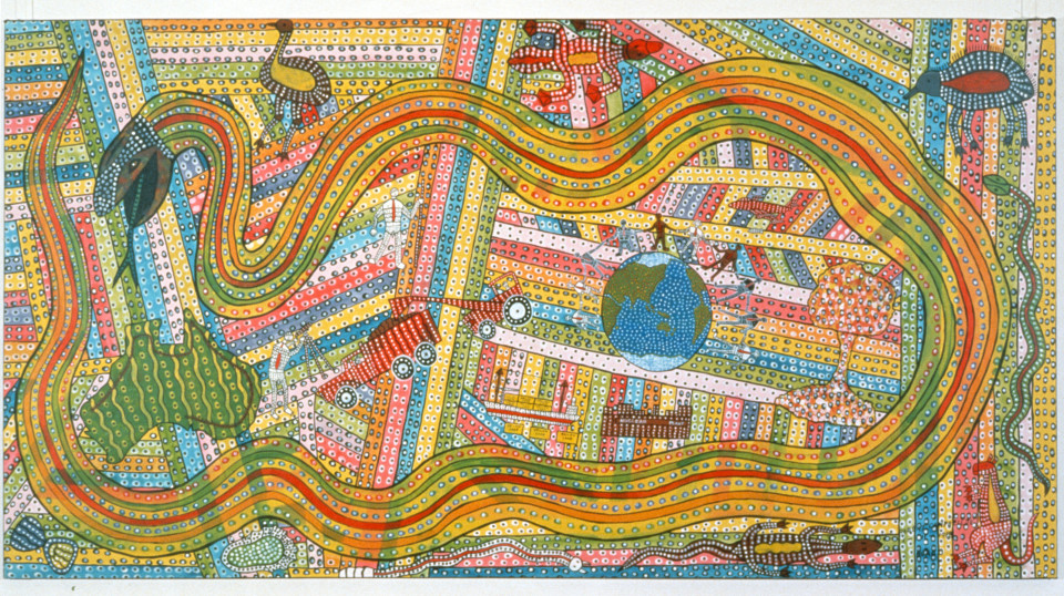 Robert Campbell Jnr Awakening The Rainbow Serpent, 1988; acrylic on canvas; 120 x 229 cm; enquire