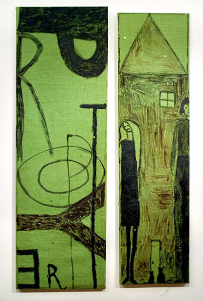 Jenny Watson Property, 1988-89; oil on dyed hessian; 2 parts: 164 x 53cm; 159 x 43cm; enquire