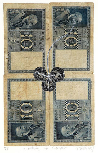 Fiona Hall Rolling in Clover - 11/51, 2004; Gouache on banknotes; 19 x 12cm (note) 40.8 x 33.2cm (frame); enquire