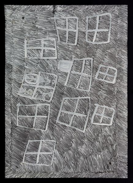 Nyapanyapa Yunupingu untitled, 2018; 5934-18; paint pen on clear acetate; 86 x 62 cm; enquire