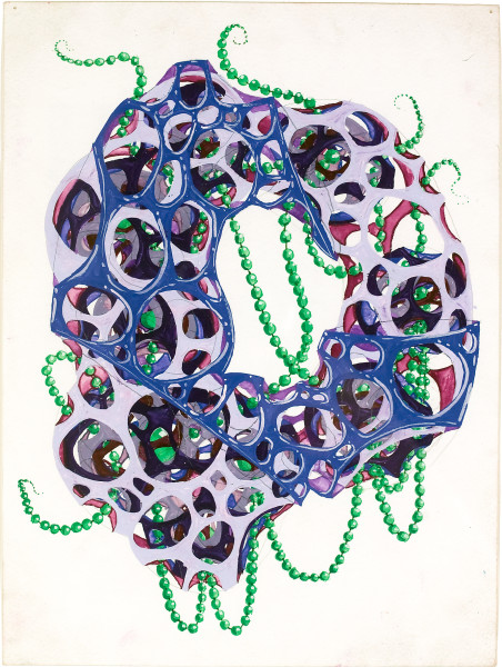 Rohan Wealleans 9 point growth with beads + handle, 2008; gouache on paper; 30 x 23 cm; 48.5 x 40cm (frame); enquire