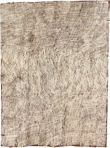 Nyapanyapa Yunupingu Lines, 2011; 4028Y; natural earth pigments on bark; 85 x 63 cm; enquire