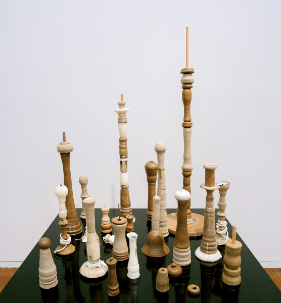 Hany Armanious Finding the Assemblage Point (Clay Pipes from ARABBA), 2004; clay, wax, cotton, acrylic varnish, dowel and steel on form-ply and steel; 155 x 100 x 90 cm; enquire