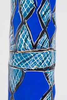 Dhambit Munuŋgurr Blue Bäru (detail), 2020; 2078-20; acrylic on eucalyptus; 286 x 40 x 30 cm; enquire