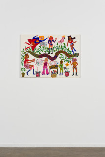 installation view; Kaylene Whiskey We Are Seven Sistas, 2020; Acrylic on linen; 67 x 91 cm; enquire
