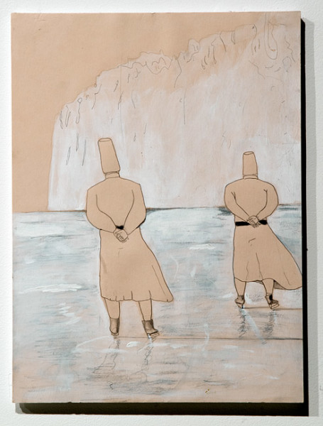 Hossein Ghaemi a wader with a sword is the same as passing time with ana', 2009; pencil and gouache on paper; 38 x 28 cm; enquire