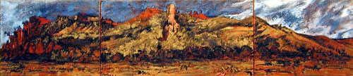 Mandy Martin Salvator Rosa Range Looking over the Claude River, 2002; pigment, ochre, hematite, mica, wax medium & acrylic binder on paper; 30 x 140 cm; triptych; enquire