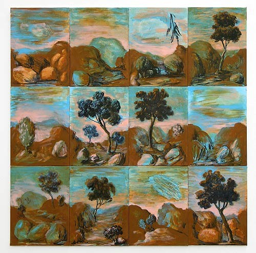Tony Clark Sections from Clark's Myriorama, 2006; acrylic and permanent ink on canvas board; 12 panels, overall dimensions 91 x 91 cm; enquire