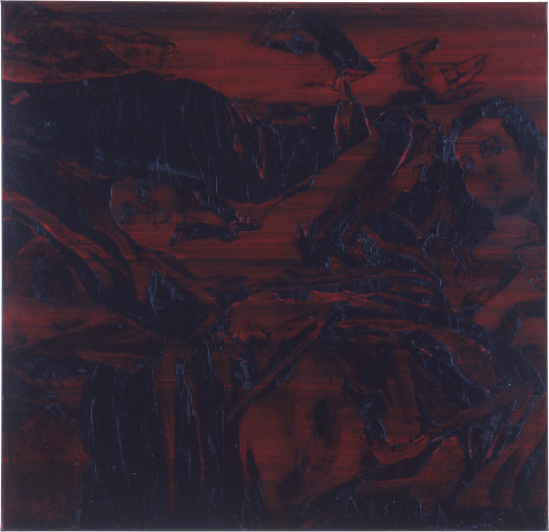 Lindy Lee The Ascensional Psyche, 1990; oil and wax on canvas; 116 x 120 cm; enquire