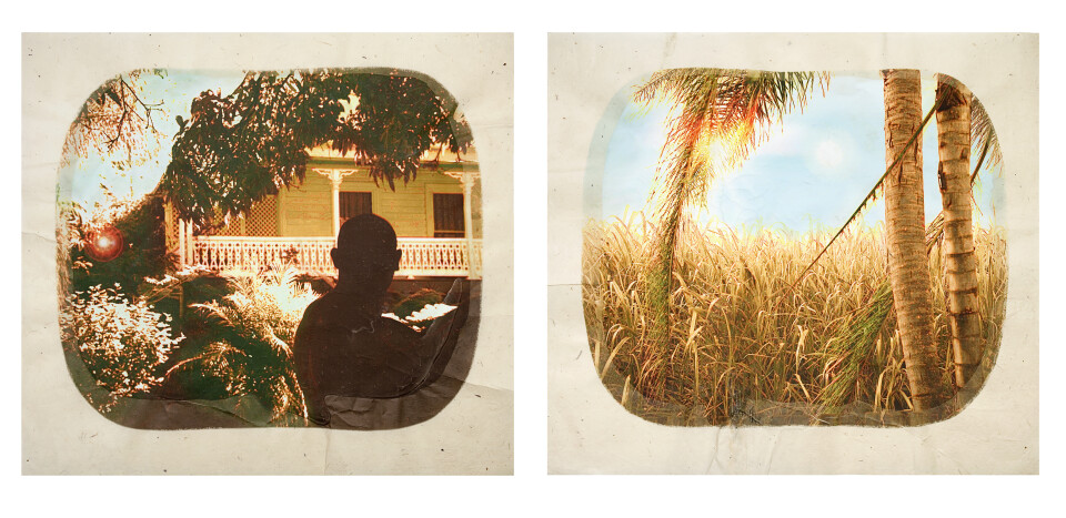 Tracey Moffatt Plantation (Diptych No. 1), 2009; digital print with archival pigments, InkAid, watercolour paint and archival glue on handmade Chautara Lokta paper ; 46 x 50.5 cm (each); Edition of 12 + AP 2; enquire