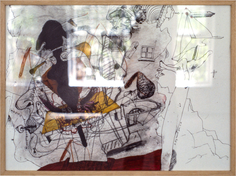 Gareth Sansom A big hand for GB, 1981; mixed media on paper; 56.5 x 77 cm; enquire