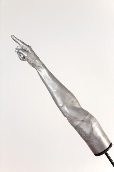Julie Rrap Instrument: Touching and Pointing, 2015; cast aluminium and steel; 143 x 135 x 25 cm; Edition of 5 + AP 1; enquire