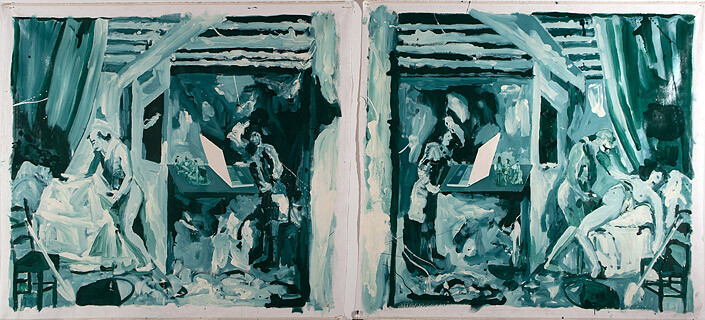 A Constructed World Sex and death, 2006; alkryd resin and oil on canvas; 2 parts: 190 x 209 cm and 190 x 206 cm; enquire