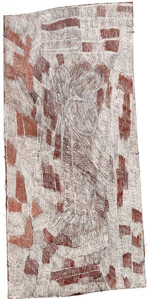 Nyapanyapa Yunupingu 27. Mangutji #1, 2010; Natural earth pigments on bark 3708L; 137 x 67 cm; enquire