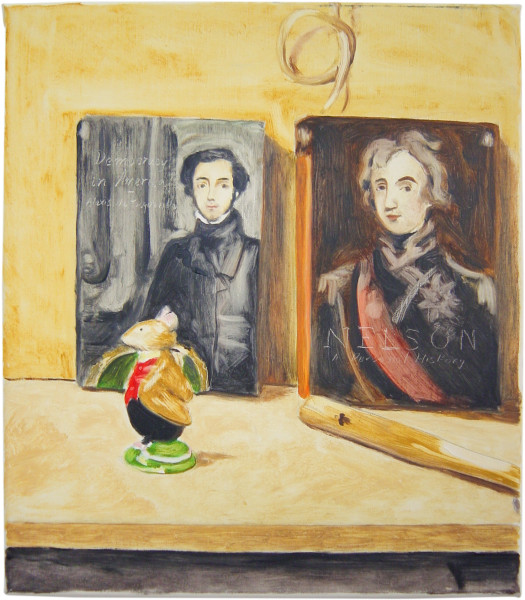 Linda Marrinon Still life with Democracy in America and Nelson, 2002; oil on canvas; 34.5 x 30 cm; enquire
