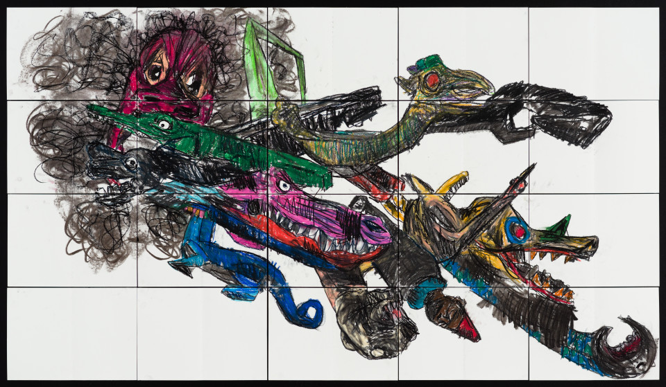 Pierre Mukeba (Baby Folklored Dragon), 2021; charcoal and pastel on archival paper; 120 x 210 cm; enquire