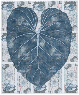 Fiona Hall Leaf Litter, 2000-02; gouache on banknotes; dimensions variable; enquire