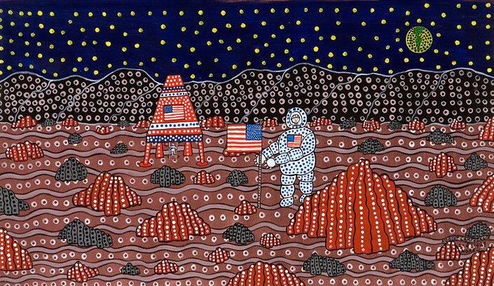 Robert Campbell Jnr Man on the Moon II, 1989; acrylic on canvas; 54.5 x 93 cm; enquire