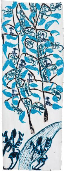 Dhambit Munuŋgurr Dulk, 2020; 4133-20; earth pigments and acrylic on bark; 202 x 74 cm; enquire
