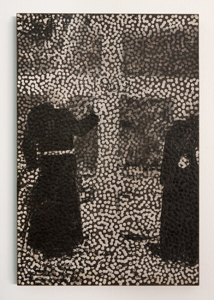 Daniel Boyd Untitled (APY), 2013; oil, charcoal and archival glue on board; 60 x 40 cm; enquire